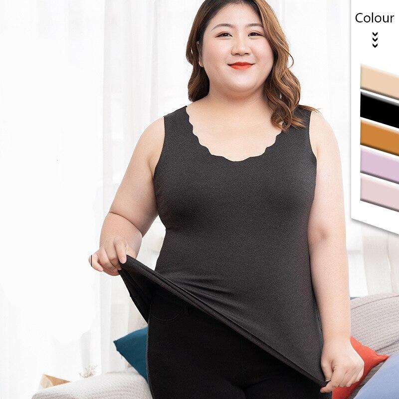 Linbaiway 2021 Women Thermal Underwear Warm Tops Body Vest for Women Sleeveless Slim Seamless O Neck Girls Plus Size Warmer Vest
