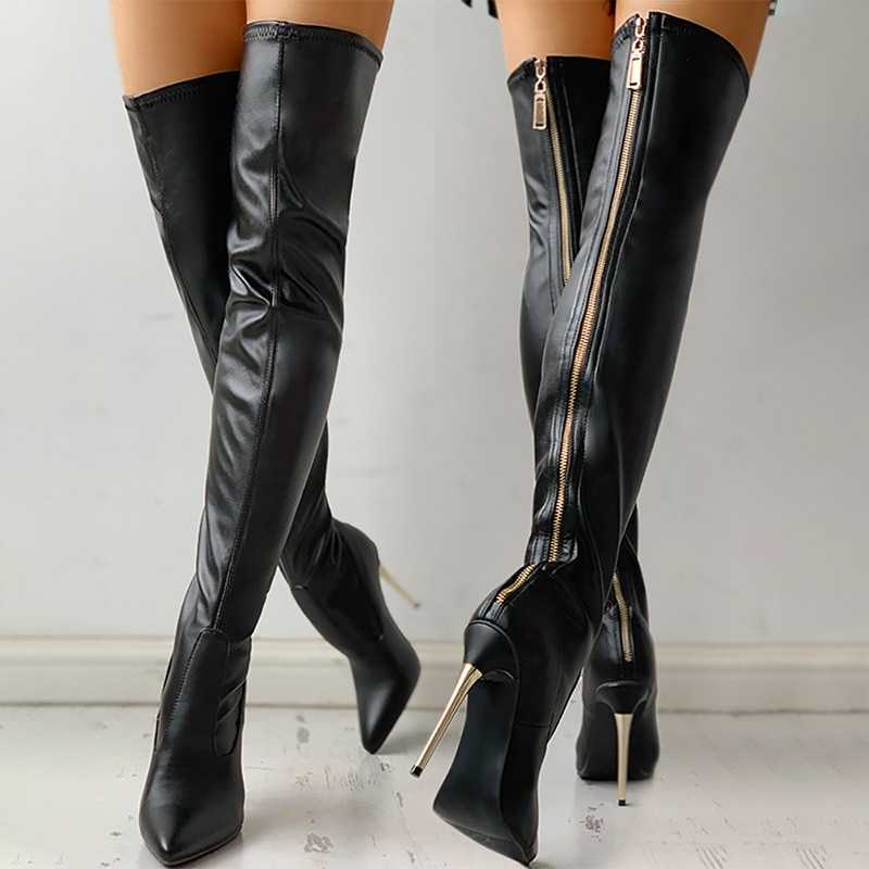 النساء فوق الركبة الأحذية الإناث البريدي مثير أسود طويل أحذية امرأة رقيقة كعب السيدات أشار تو أحذية حزب أحذية الخريف المرأة