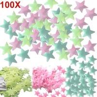 100 шт. домашний декор настенные наклейки светящиеся цветные флуоресцентные светящиеся звезды наклейки на стену для детей для детской комна...
