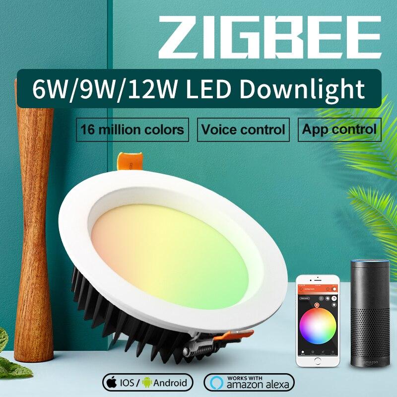 GLEDOPTO LED downlight casa inteligente ZIGBEE luz enlace RGBCCT led regulable lámpara funciona con Ecoh plus SmartThings control de voz LED