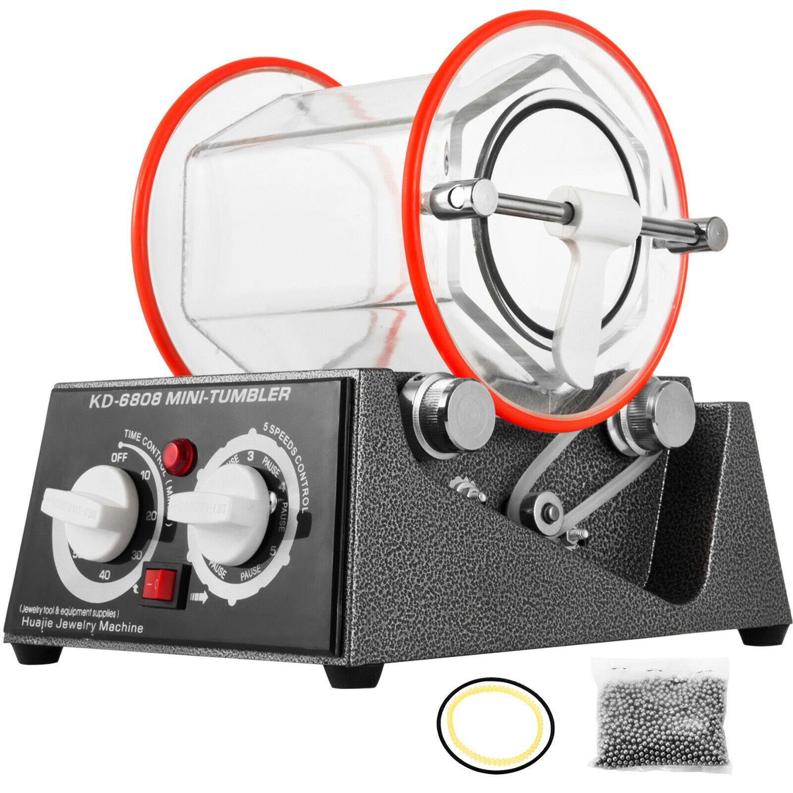 VEVOR 3 كجم الروتاري بهلوان سطح الملمع مجوهرات تلميع التشطيب سوبر آلة صغيرة KT6808 مع برميل زجاجي للشطب