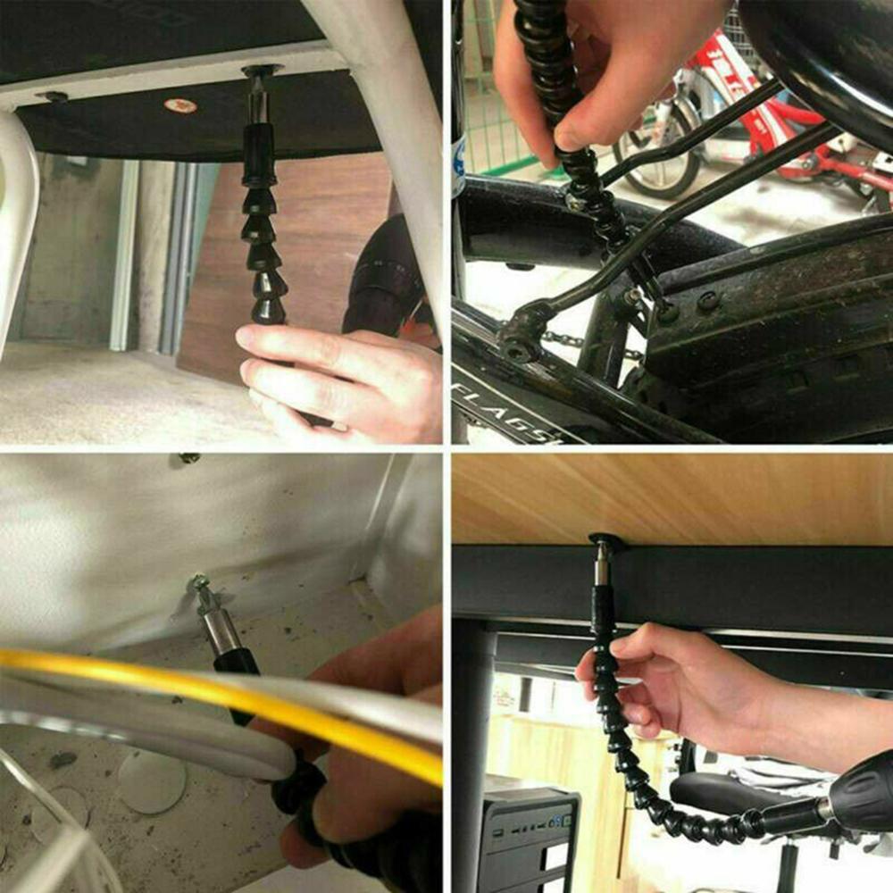 Купить с кэшбэком 2X Right 105 Angle Drill Flexible Shaft Bit Kit Extension Screwdriver Bit Holder