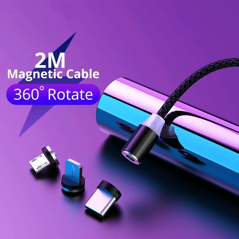 Fast Charging 2.4A Magnetic Cable 2M Micro Cable USB Cord LED Light Magneti Charger For IOS Type C M
