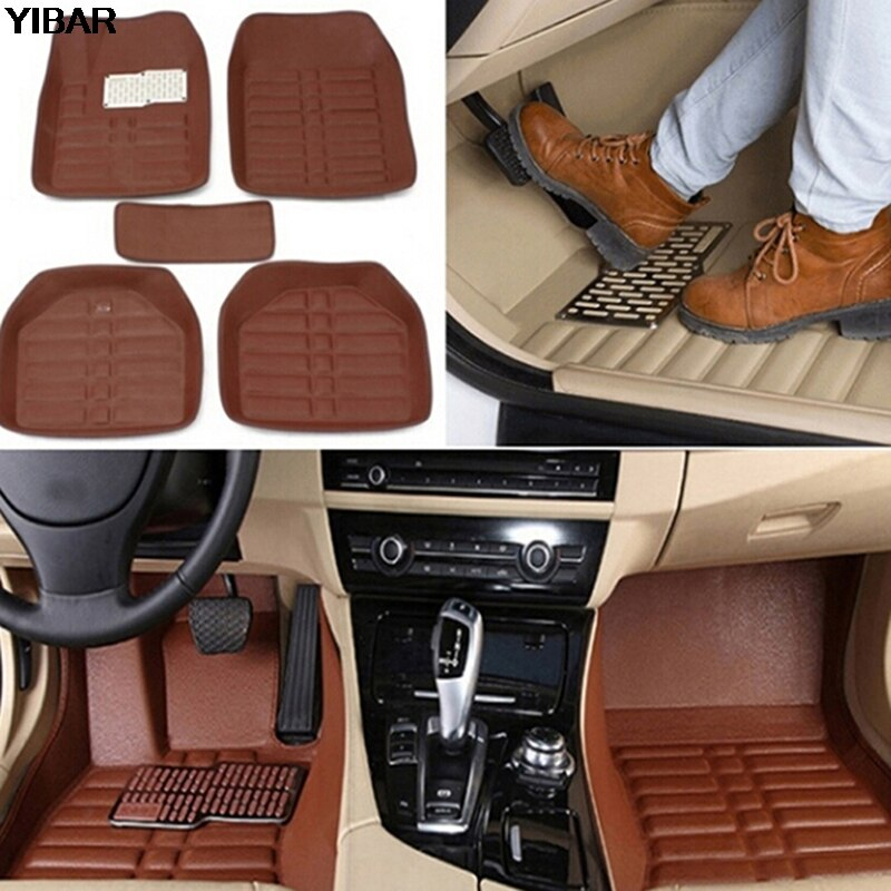 5 pieces waterproof red PU leather pad auto non-slip carpet GM floor leather front and rear lining easy to clean