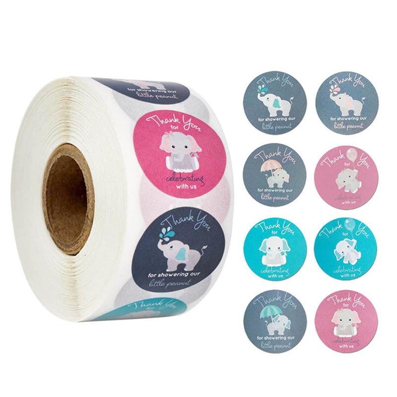 500pcs Stationery Sticker Paper Label Stickers Thank You Sticker Scrapbooking Sealing Stickers Elephant Envelope Sticker