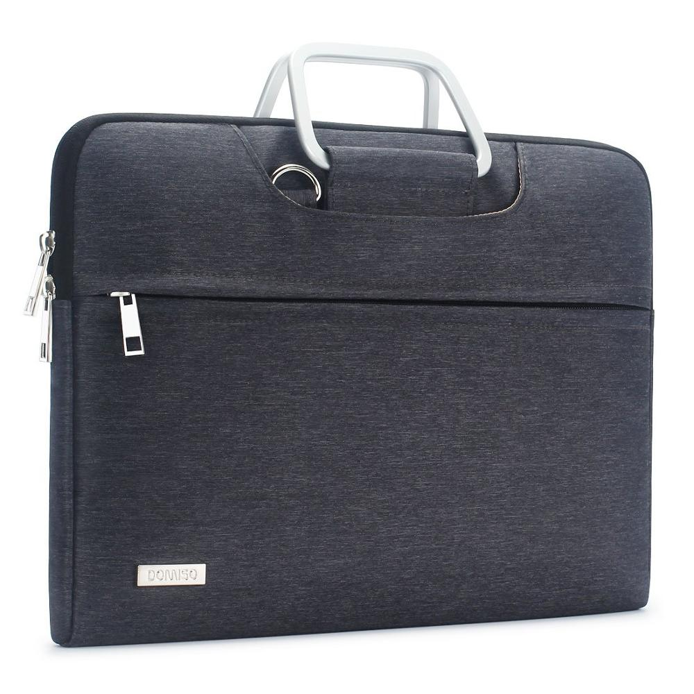 Water Resistant 13 14 15.6 17.3 Inches Laptop Bag With Aluminum Handle Shoulder Strap Sleeve Carry Case Brown Grey