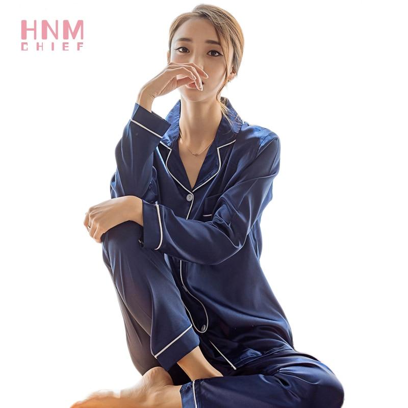 Pyjama En Satin Femme 2021 Autumn Winter Women's Pajamas Suit Solid Color Simplicity Peignoir Satin