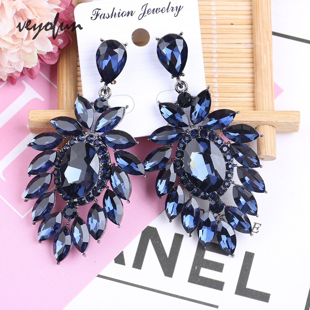 Veyofun, Pendientes colgantes de cristal hiperbole de lujo, pendientes de gota grandes, Nueva joyería de moda para mujeres
