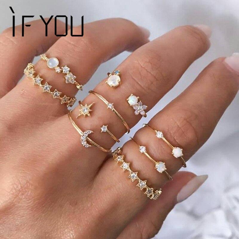 Если вы Винтаж костяшки Кристалл Кольца для женщин тренд палец богемный Ins звезда луна кольца набор Свадебные обручальные украшения 2020