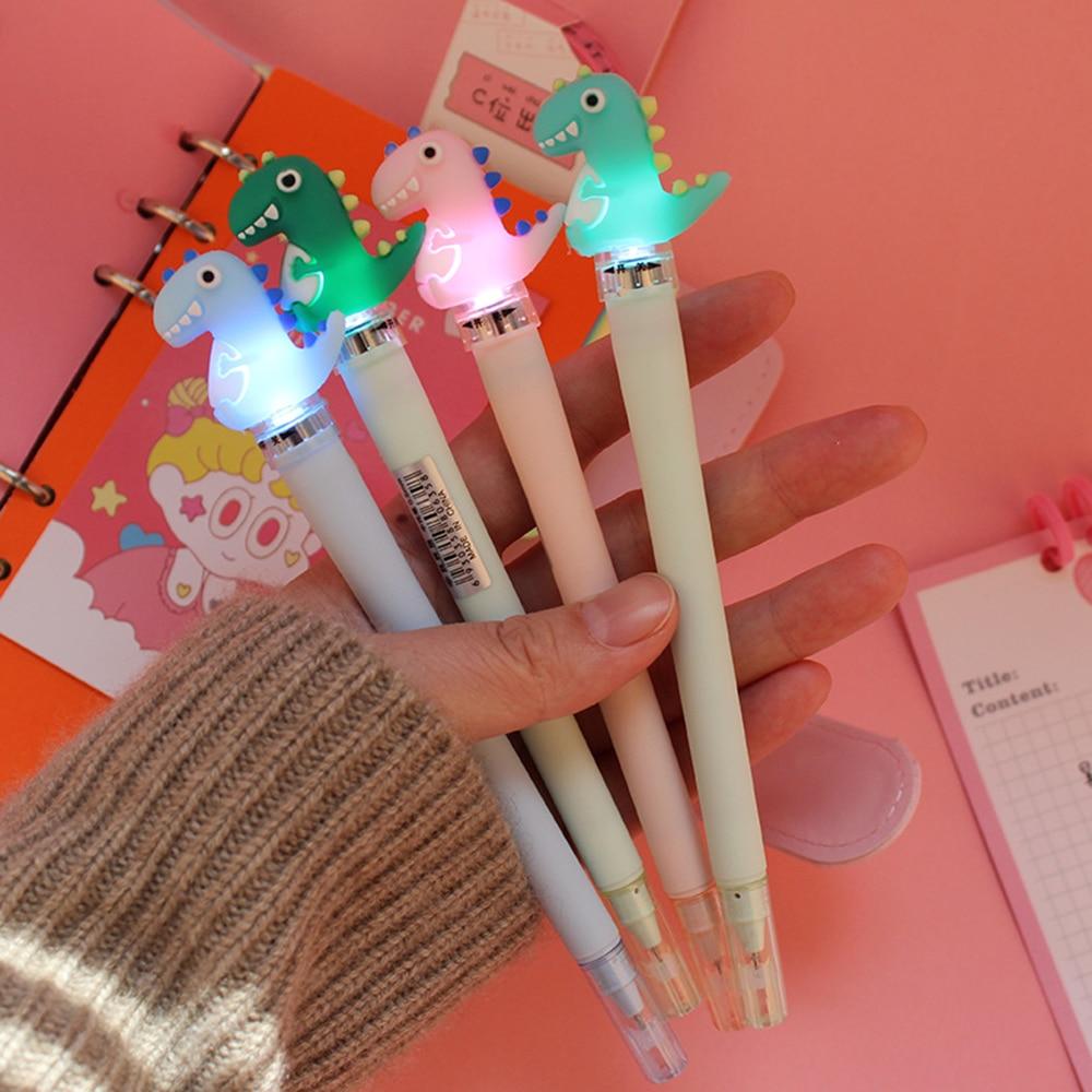 1 Pcs Cartoon Dinosaur Gel Pen Novelty Spin Silicone Head LED Lights Cute Kawaii Student Writing 0.5mm Stationery Neutral Pen