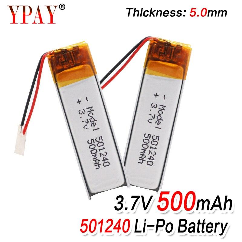 3,7 в 500 мАч 501240 батарея литий-полимерная аккумуляторная батарея 501240 Li Po литиевые элементы для gps Bluetooth наушники MP3 MP4 051240