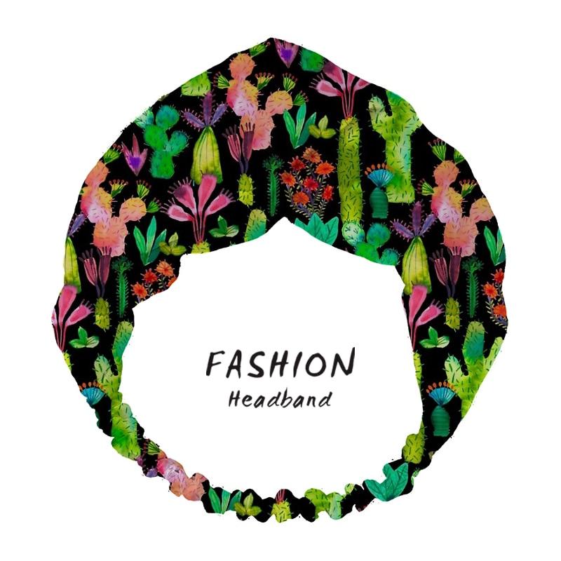 2020 Hair Accessories Fashion Cacti Garden Print Women Headband Bandanas Hairband Headwear Headdress Scrunchies
