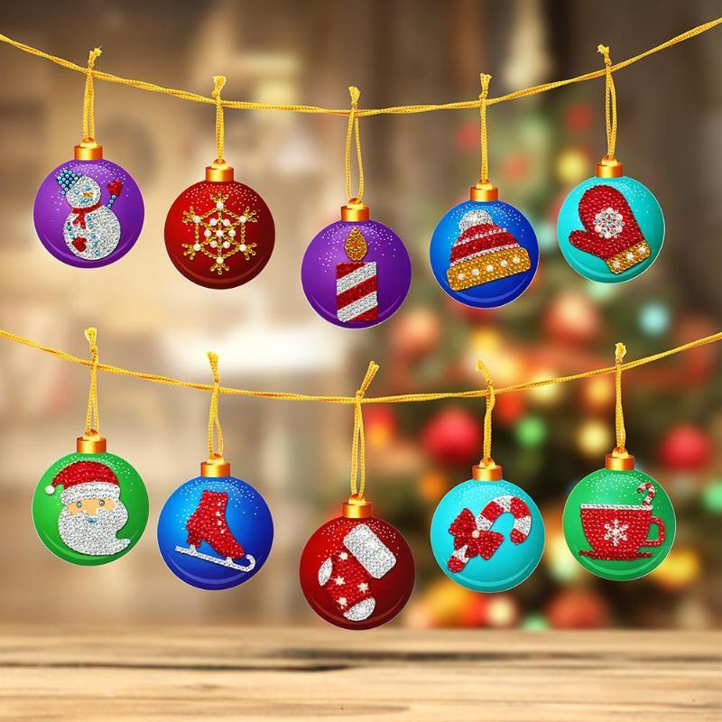 10 Uds DIY pintura de diamantes Navidad árbol colgante completo taladros forma especial bordado de diamantes para Navidad decoraciones para el hogar