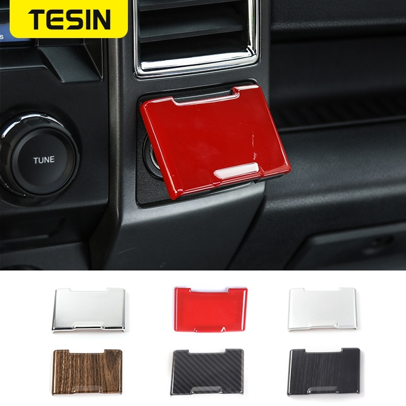 TESIN Car Styling Electrical Socket Power Supply Souce Plug Cigar Lighter Cover Trim for Ford F150 R
