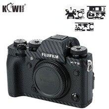 Kiwi anti-rayures caméra corps couverture Film en Fiber de carbone pour Fujifilm X-T3 XT3 3M autocollant anti-dérapant support de prise en main protection de la peau bouclier