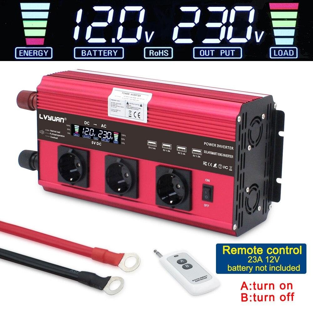 Ue soquete transformador adaptador carregador conversor 12000 w inversor de potência dc 12 v/24 v para ac 230 v com 4fan 4usb controle remoto