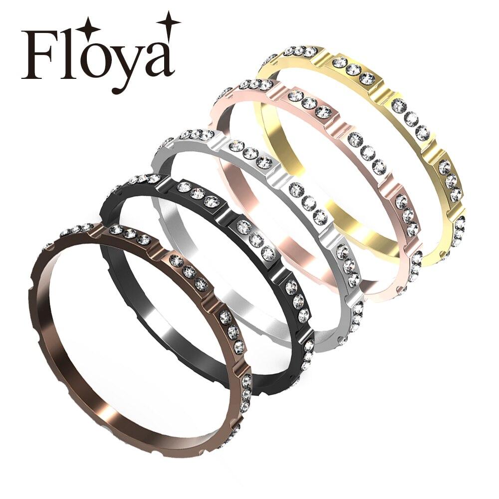 Floya repleto de circonita interior de anillos mujeres de aluminio de Acero Inoxidable Base de accesorios negro intercambiables anillo Bague Acier