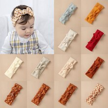 Girls Cotton Dot Floral Print Bows Headband Elastic Hair Band Vintage Baby Soft Kids Solid Color  He