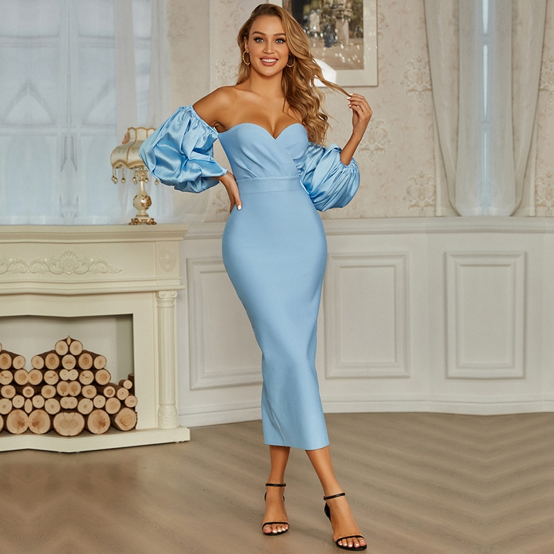 Dui sleeve dress European and American banquet bandage long  dresses for women