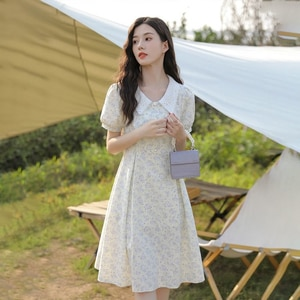 Korean Style Sweet Sundresses for Women Summer 2021 French Lace Elegant Floral Dress Females Cottagecore Kawaii Puff Sleeve Chic