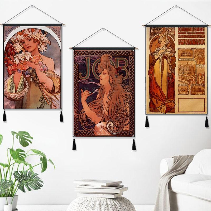 Colgante de Estilo Vintage Alphonse Maria para Austria y París de 1900, póster con pintura de líneas de algodón, decoración para el hogar, tapiz colgante de pared, regalo