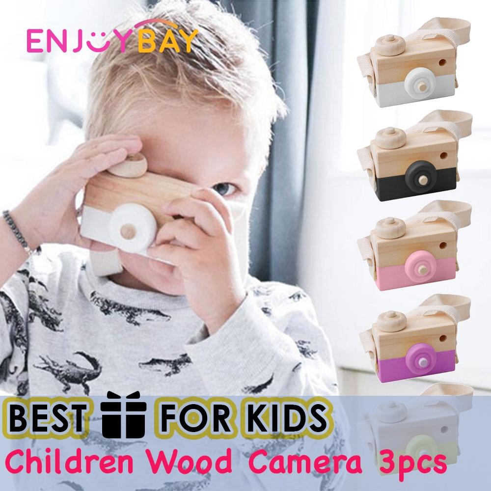 Enjoybay 3pcs Kids Wood Camera Toys Hanging Wooden Camera Toys Creation Handmade Wooden Camera Cute Christmas Toys Gift for Kids