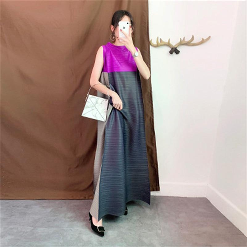 Miyake مطوي المرأة فستان 2021 الصيف المرأة وصول جديد الجهاز مطوي س الرقبة أكمام فضفاضة كبيرة الحجم فستان طويل المرأة