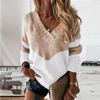 fashion casual patchwork lady sweater vintage v neck pullover jumpers drop shoulder sleeve winter elegant knitted women sweater