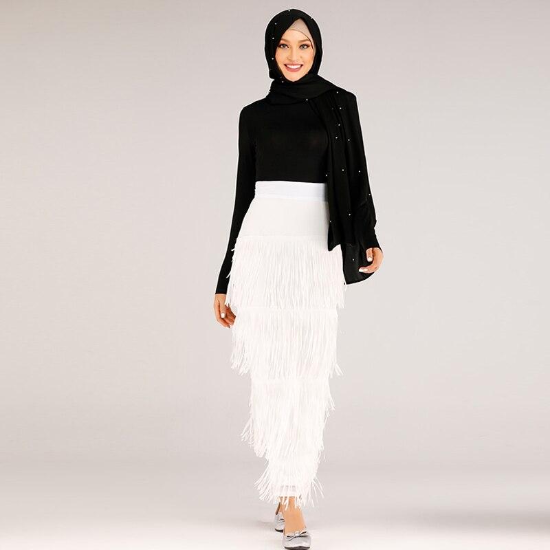 Borla Falda larga las mujeres musulmanas Fondo Abaya Turquía islámica Moslim faldas Elbise Musulman Vetement Femme Dubai Jupe Musulmane