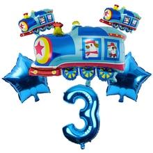 6pc Train Car Foil Balloons Globos Car Theme Party Supplies Wedding Birthday Party Decoration Kids T