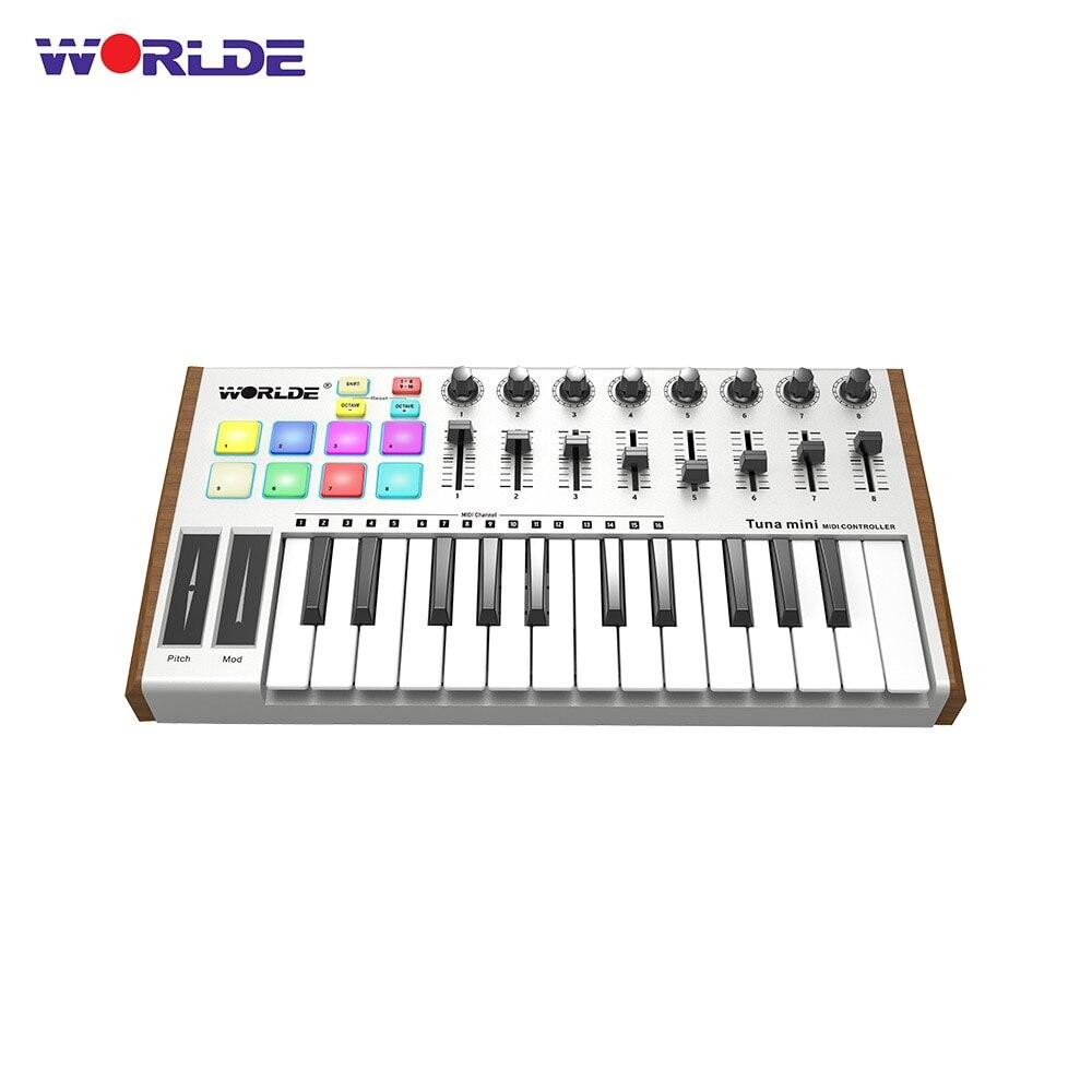 Worlde controlador midi atum mini 25key piano teclado controlador usb bus alimentado gatilho almofada instrumento musical profissional