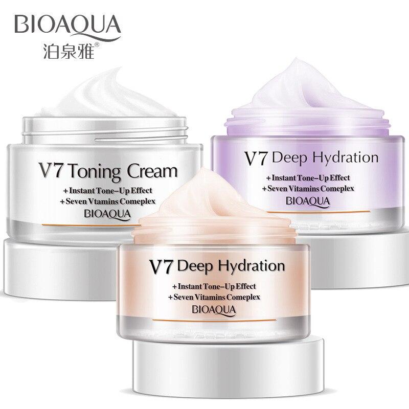 Bioaqua cristal claro hidratante v7 núcleo natural creme hidratante clareamento da pele cor base creme nobre senhora creme justo