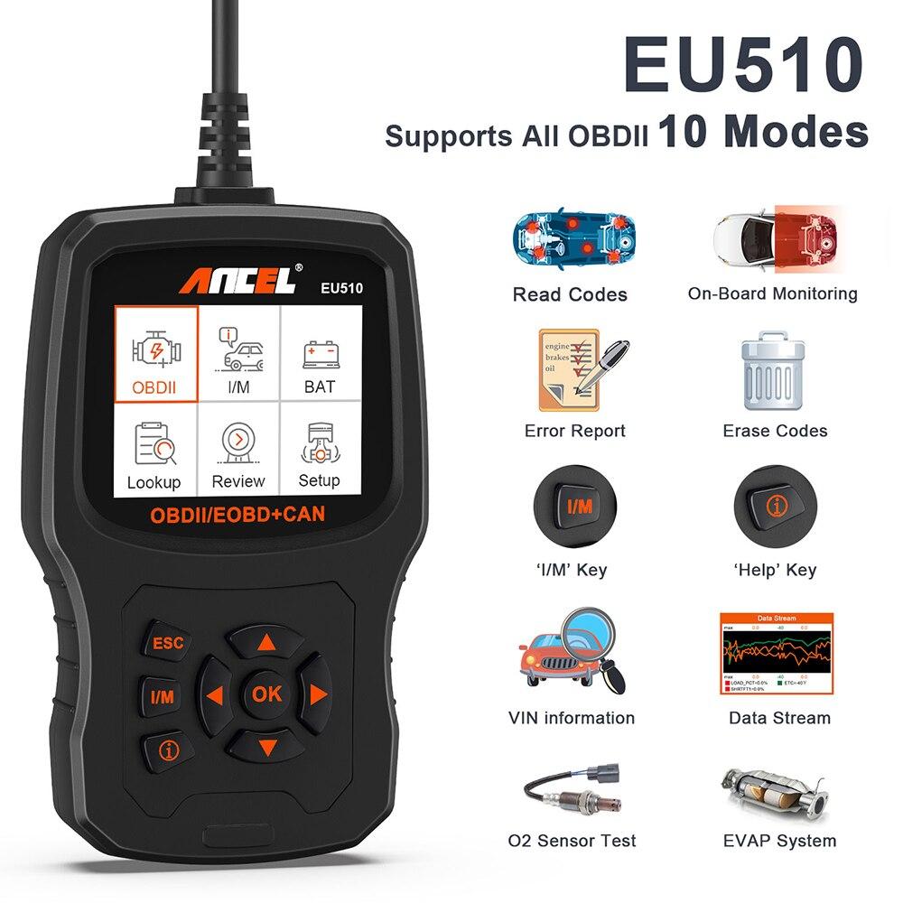 ANCEL EU510 OBD2 сканер автомобиля диагностический инструмент для Renault Citroen Peugeot, Opel VW сканер кода автомобиля OBD2 сканер OM129 AD530
