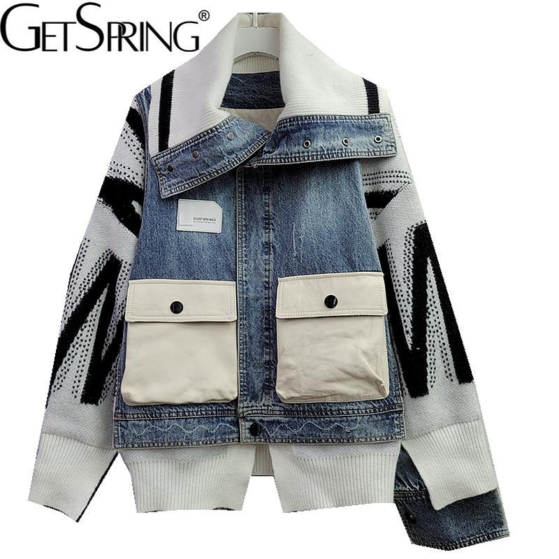 GetSpring النساء الدنيم معطف محبوك خياطة جيب كبير غير النظامية جان جاكيتات فضفاضة غير رسمية طويلة الدنيم القمم الخريف 2021 جديد
