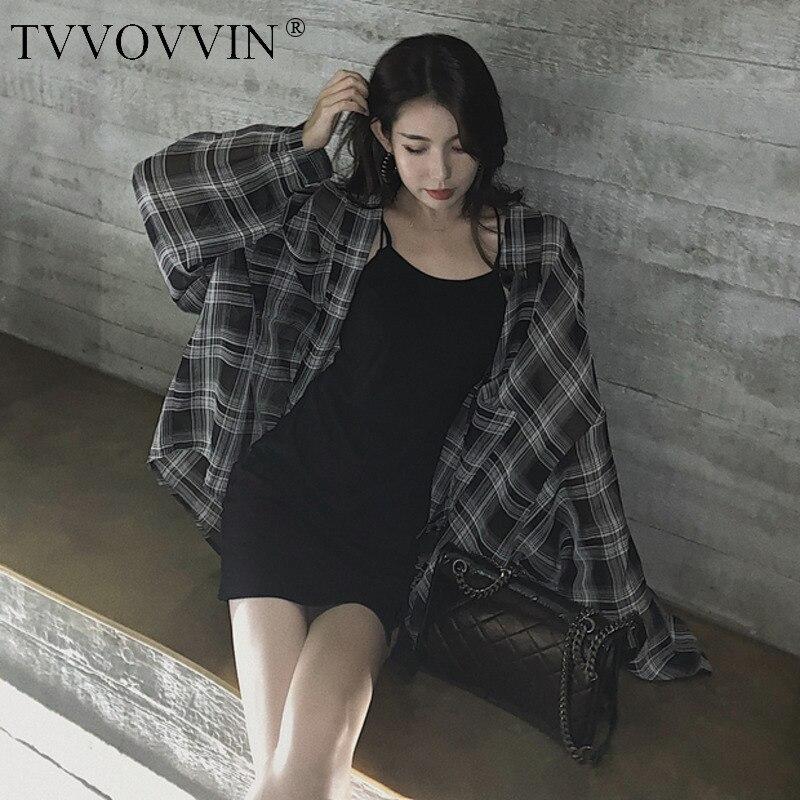 TVVOVVIN Длинная женская рубашка с рукавом размера плюс клетчатая женская блузка рубашка Свободная Повседневная Длинная женская блузка Новая ...
