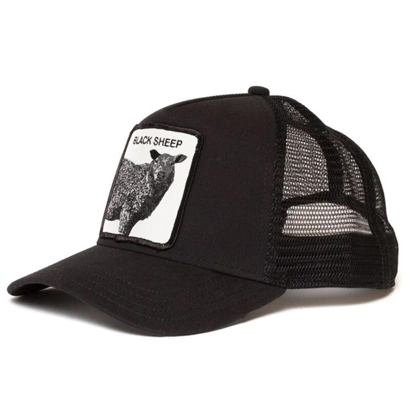 Мужская бейсболка с вышивкой животного, черная овечья аниме милая летняя сетчатая мужская шляпа с вышивкой от солнца, бейсболка для мужчин