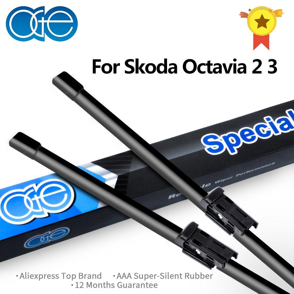 Limpiaparabrisas traseros y delanteros OGE para Skoda Octavia 2 3 A5 A7 1996-2017, accesorios de goma para parabrisas de coche de alta calidad