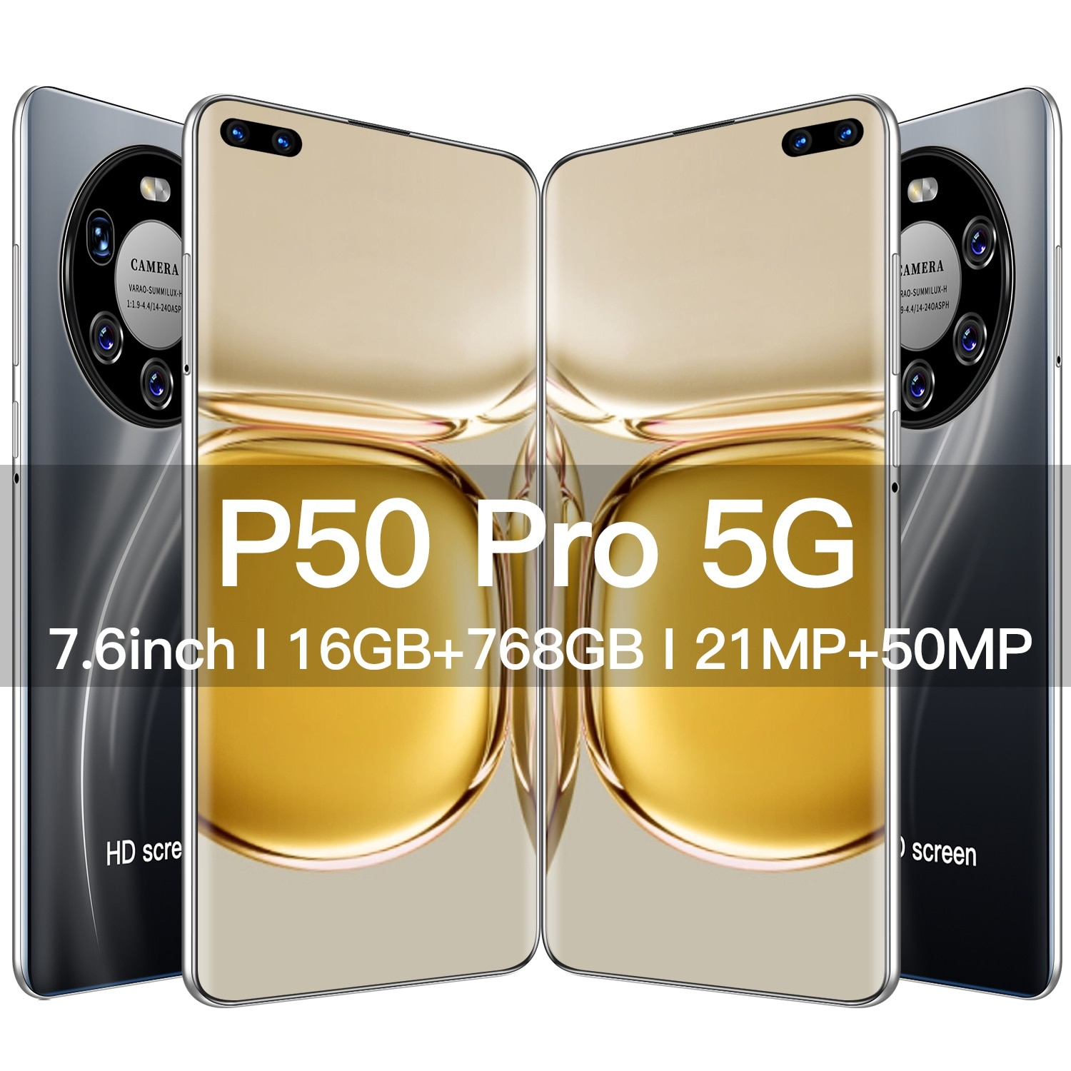 2021 New P50 Pro 16GB+768GB 6000Mah Unlocked Smart Phone Android 11 7.6 Inch 4G/5G Network 21MP+50MP HD Camera 5G Cell Phone GPS