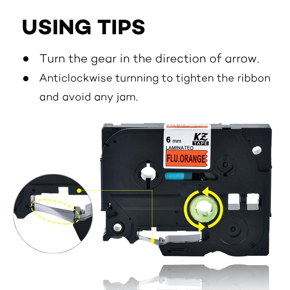 6mm TzeB11 Black on Flu.Orange Laminated Label Tape Cassette Cartridge label ribbon Tze-B11 tze B11 tzeB11 for P-touch PT