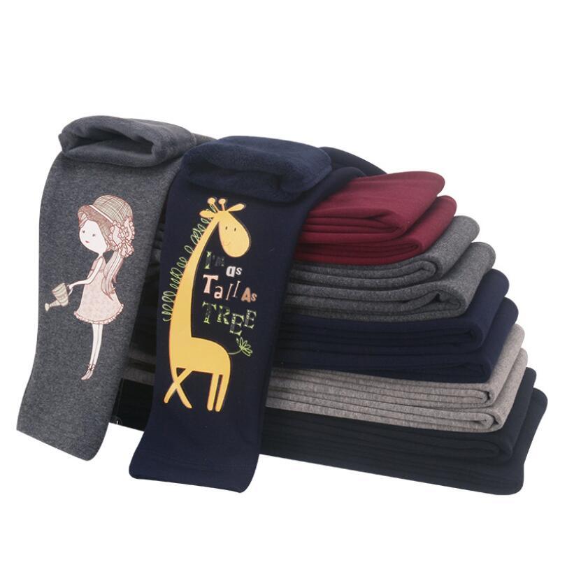 Meninas do bebê leggings 3-13 t crianças inverno veludo quente calças meninas algodão calças casuais crianças dos desenhos animados leggings lápis calças pant