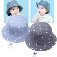 2 colors childrens denim hat sunscreen stars fisherman cap spring summer children linen sun hat toddler outdoor visor hats
