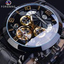 Forsining tourmilliards noir or vague cadran décontracté Design hommes montre Top marque mécanique automatique montre-bracelet pour hommes