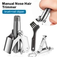 nose trimmer for men stainless steel manual trimmer for nose vibrissa razor shaver washable portable nose ear hair trimmer