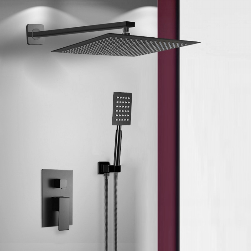 BAKALA Black Stainless Steel Square Black Shower Set Bathroom Rain Shower Head Faucet Shower Mixer Handheld Shower Spray Set bakala bathroom led shower set 2 functions led digital display shower mixer concealed shower faucet 8 inch rainfall shower head