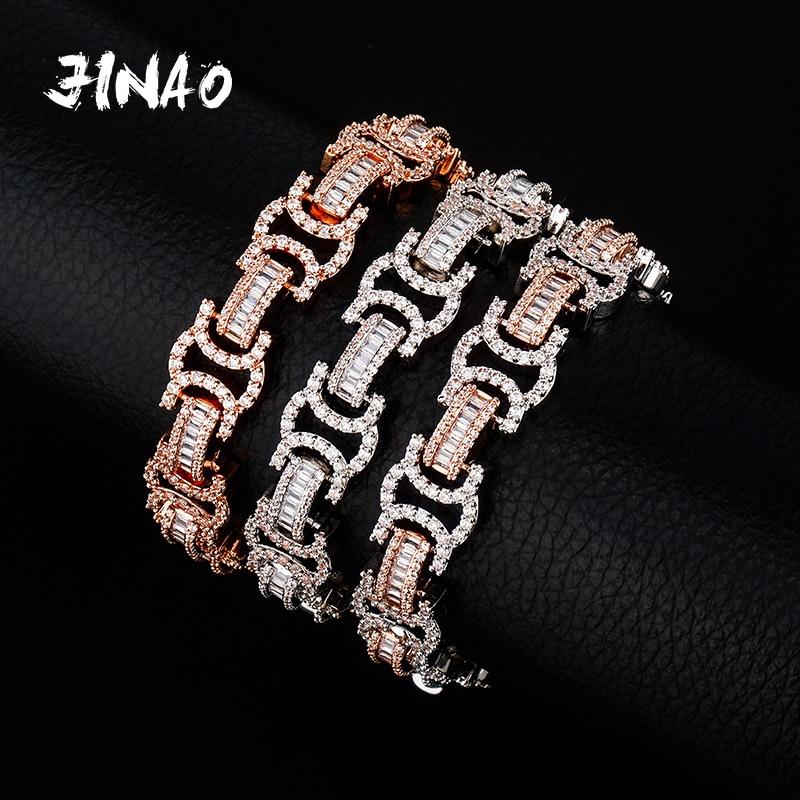 JINAO موضة الذهب اللون مطلي مايكرو تمهيد مكعب سوار الزركون كل مثلج خارج الكوبية سلسلة الهيب هوب مجوهرات للنساء الرجال هدية
