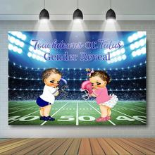 Touchdown ou Tutus sexe révéler toile de fond garçon ou fille bébé douche photographie arrière-plan Sport thème genre Surprise fête décor