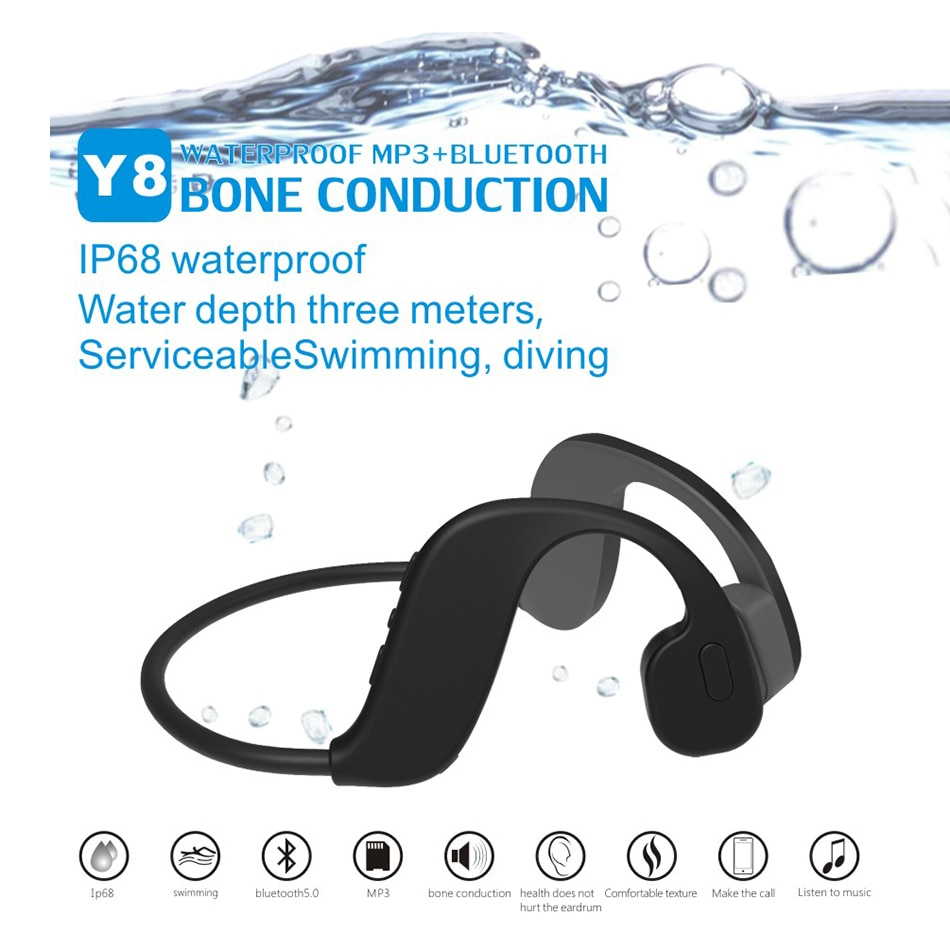 New Swim Bone Conduction Y8 32GB Mp3 Player Bluetooth 5.0 2 In 1 Headset IP68 Waterproof Running Fit
