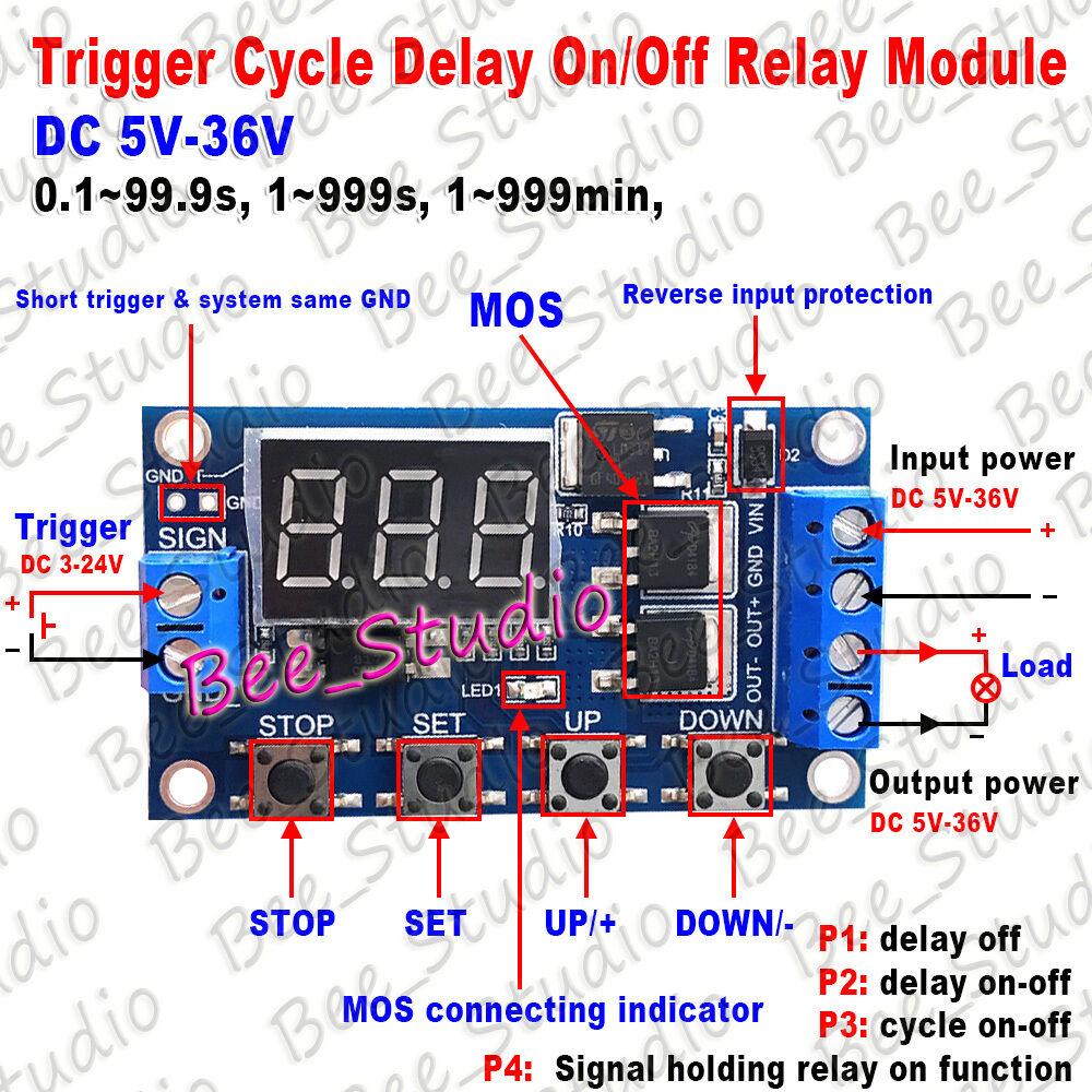 DC 5V 12V 24V 36V Digitais LEVOU Temporizador Ciclo Interruptor de Atraso Desligar/No Tempo Módulo de Relé 12v relé módulo temporizador