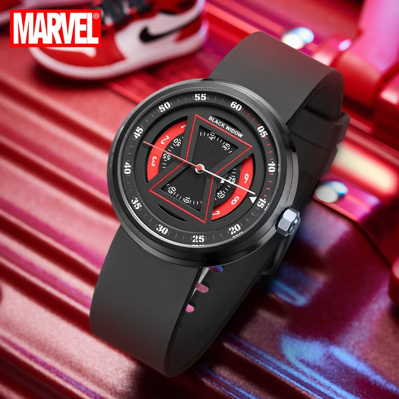 Authentic Disney Marvel Black Widow Watch Female Student Personality Waterproof Mechanical Black Technology Ladies Watch enlarge