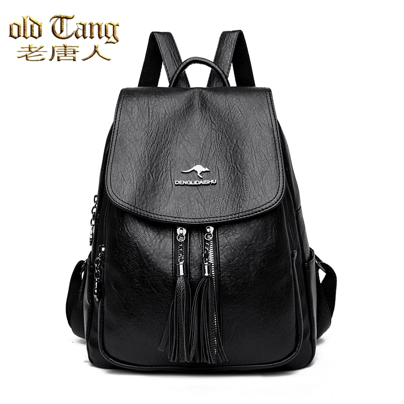 OLD TANG Fashion Solid Color Fringed Backpack for Women 2020 Winter New Pu Leather Waterproof Ladies